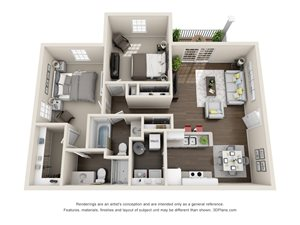 2 Bedroom, 2 Bath 1,037 sq. ft.