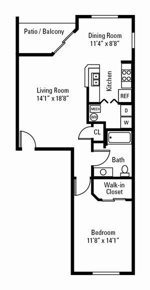 1 Bedroom, 1 Bath 878 sq. ft.