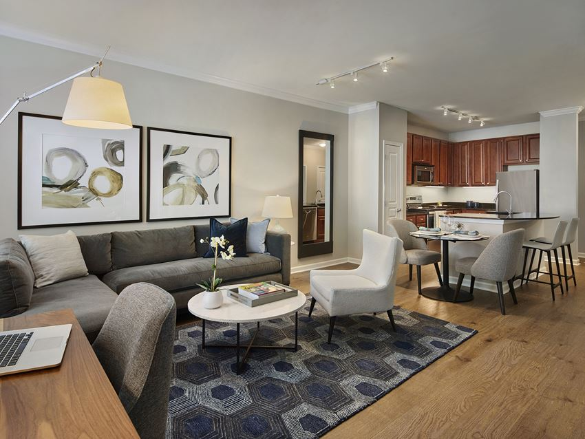 Living Room With Kitchen View at AVE Union, New Jersey