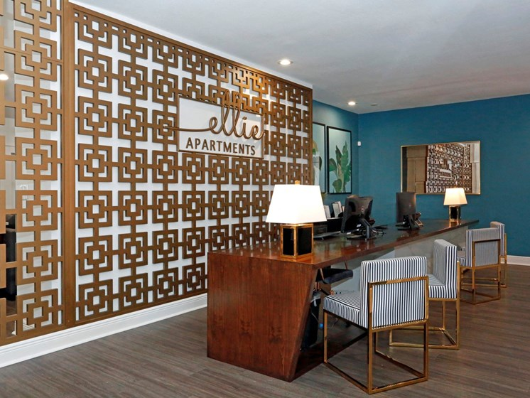 Decorated Leasing Office at Ellie Apartments, Texas