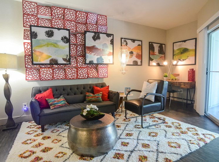 carpeted living room at Ellie Apartments, Texas, 78741