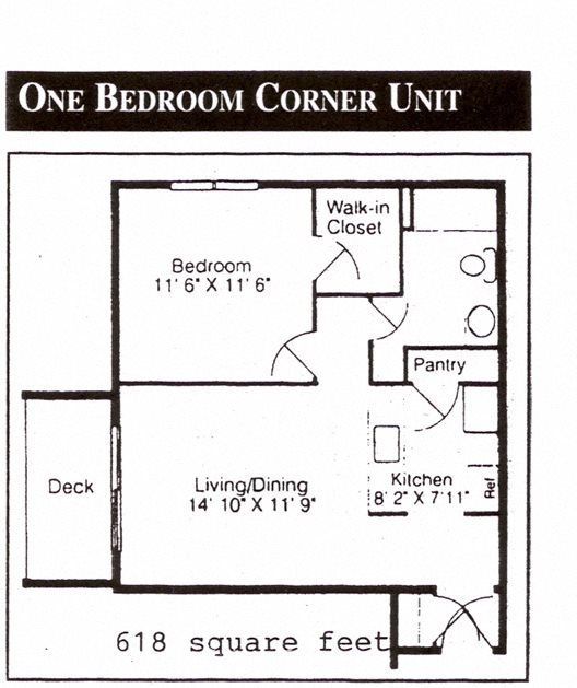 1 Bedroom Corner Floor Plan 2