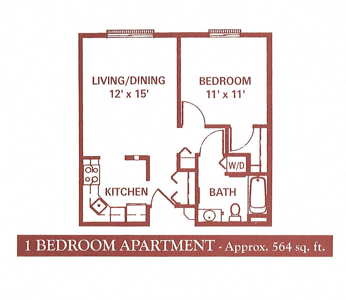 1 Bedroom (No Balcony) Floor Plan 1