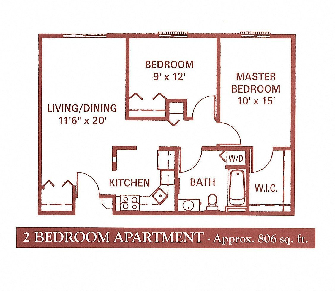 2 Bedroom (Small) Floor Plan 3