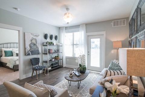 Bright Living Room at Meridian at Fairfield Park, Wilmington, North Carolina