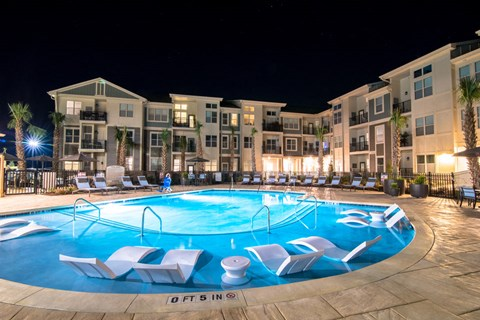 Swimming Pool In Night at Meridian at Fairfield Park, Wilmington