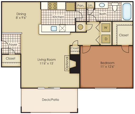 Birkdale One Bed One Bath Floor Plan at One Norman Square, Cornelius, NC, 28031