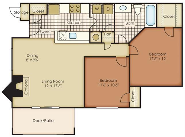 Catawba Two Bed One Bath Floor Plan at One Norman Square, Cornelius, NC