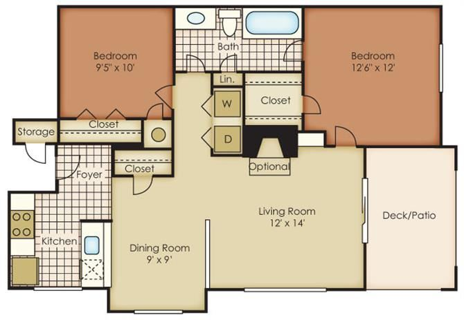Charlotte Two Bed One Bath Floor Plan at One Norman Square, Cornelius, 28031