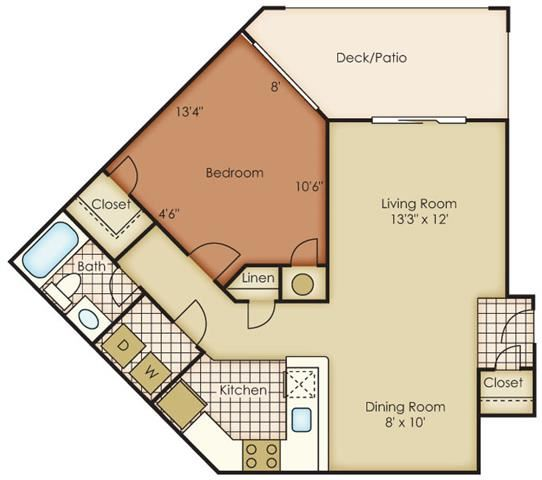 Huntersville One Bed One Bath Floor Plan at One Norman Square, North Carolina
