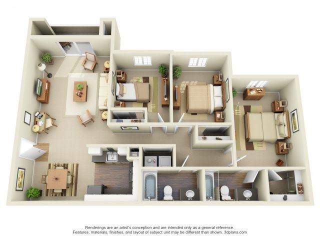 3 Bed 2 Bath, 1188 square feet floor plan The Del Mar