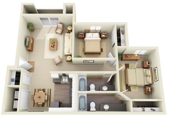 2 Bed 2 Bath, 963 square feet floor plan The Abbott
