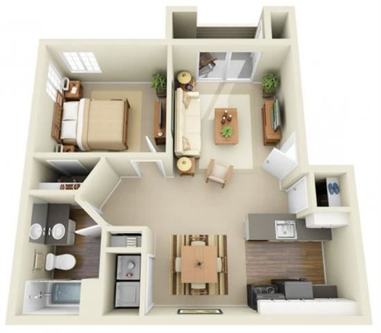 1 Bed 1 Bath, 820 square feet floor plan The Harris
