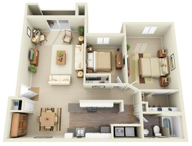 2 Bed 1 Bath, 991 square feet floor plan The Lloyd