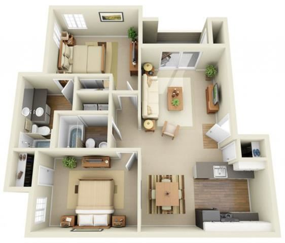 2 Bed 2 Bath, 976 square feet floor plan The Neville