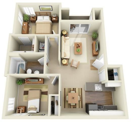 2 Bed 1 Bath, 820 square feet floor plan The ONeil