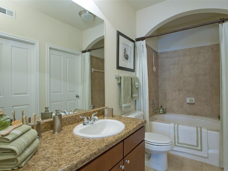 All Apartments has Solid Cultured Marble Bathroom Counter Tops, Beacon Lakes, Texas