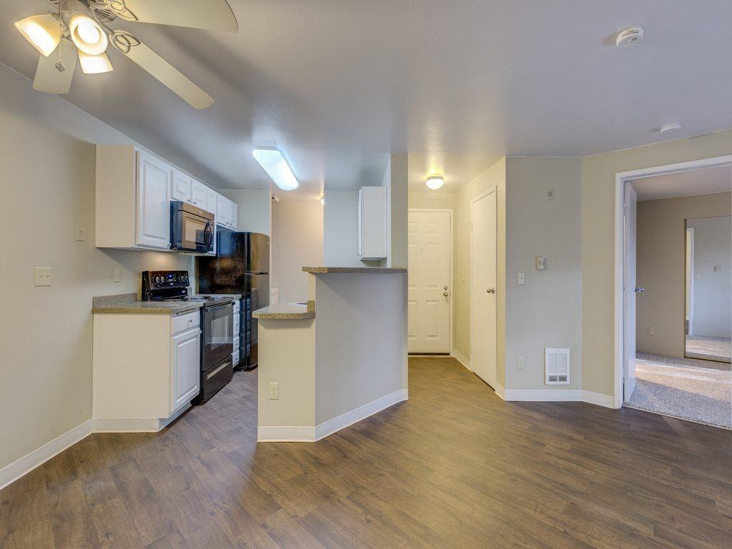 Gorgeous Parquet Wood Flooring at Cascadia Pointe, 98204