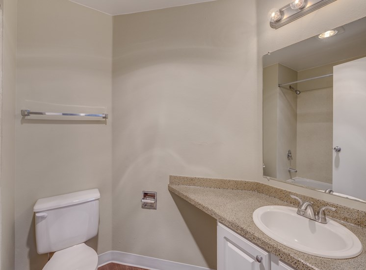 Designer Granite Countertops in all Bathrooms at Cascadia Pointe, WA,98204