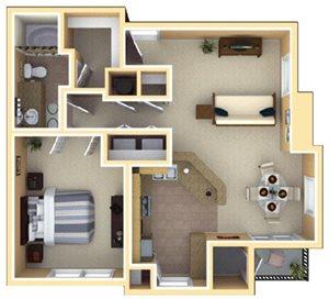 Chastain Floorplan at Deerfield Village Apartments