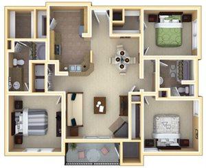 Deerfield Floorplan at Deerfield Village Apartments