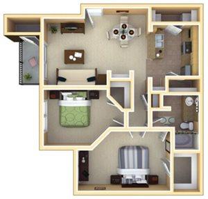 Lakewood Floorplan at Deerfield Village Apartments