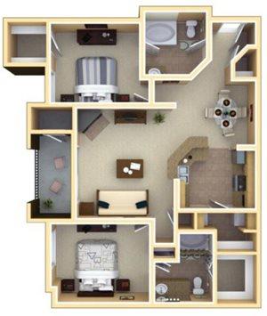 Piedmont Floorplan at Deerfield Village Apartments