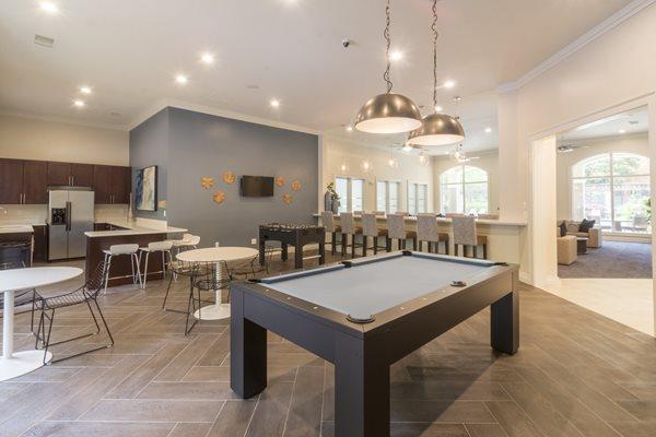 multi-media center with billiard lounge at Deerfield Village Apartments, Alpharetta, GA