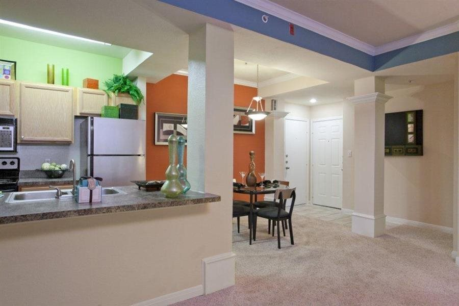 Chef Inspired Kitchen Islands with Chic Pendant Lighting at Estate on Quarry Lake Apartments, Austin, TX