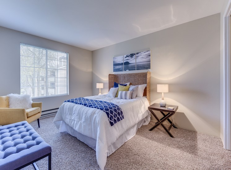 Private Master Bedroom With Oversized Windows at Fulton's Crossing Apartments,120 SE Everett Mall Way,Everett, WA 98208