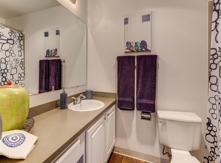 Designer Granite Countertops in all Bathrooms at Fulton's Crossing Apartments,120 SE Everett Mall Way, 98208