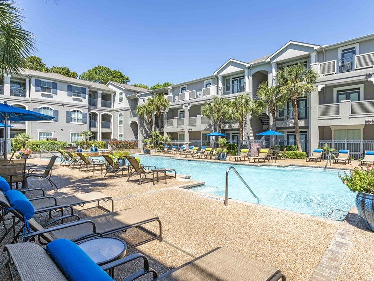 Poolside Sundeck With Relaxing Chairs at Kirby Place Apartments, Houston, TX, 77030