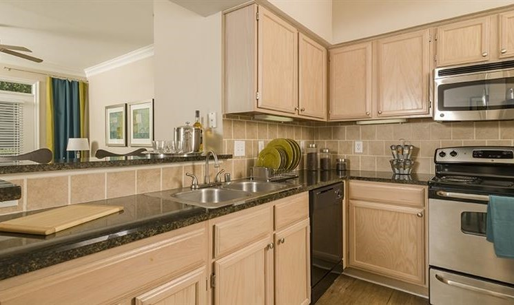 Custom Oak Cabinetry at Kirby Place Apartments, Houston, TX