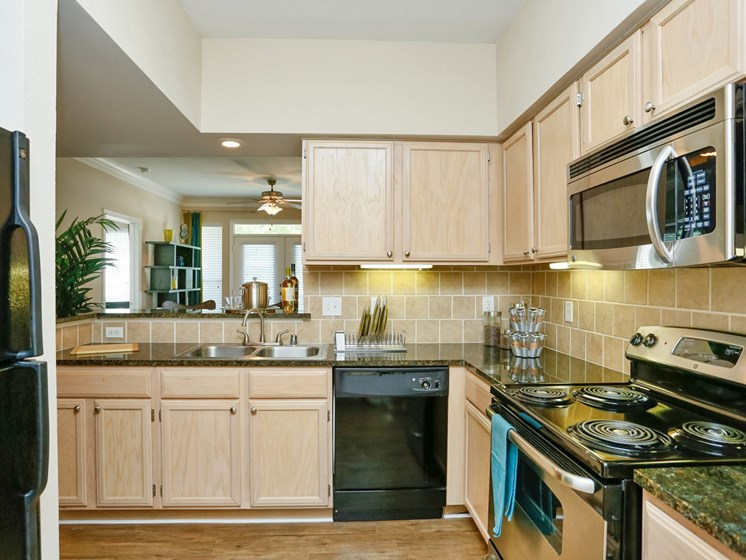 Oak Cabinetry at Kirby Place Apartments, Houston, TX, 77030