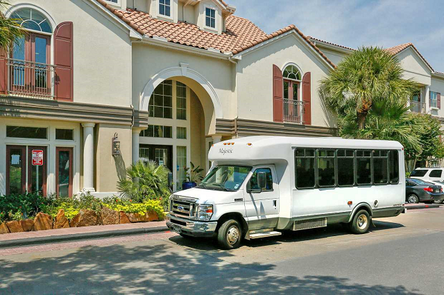 medical center shuttle bus at Kirby Place Apartments, 77030