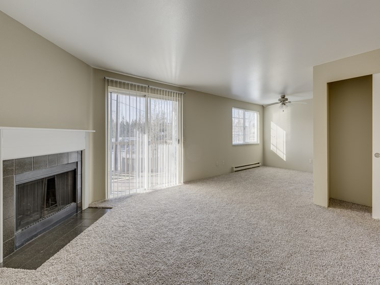 Wall-to-Wall Carpeting and Fire Place