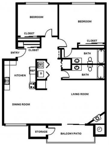 2 Bed, 2 Bath, 1025 sq. ft. B2