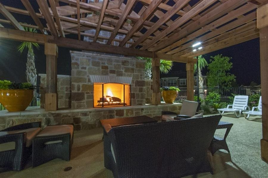 Outdoor Fireplace Lounge with Cabana