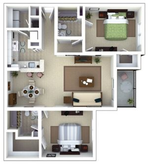 Emmerson Floorplan at Roswell Village Apartments