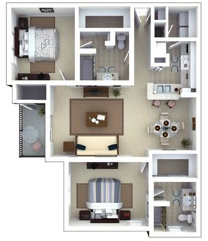 Hemingway Floorplan at Roswell Village Apartments