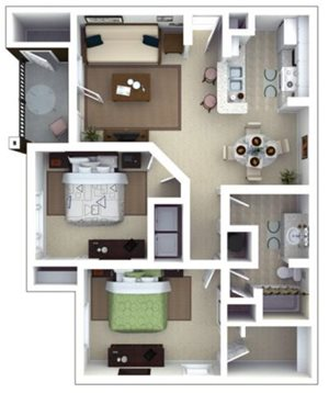 Keats Floorplan at Roswell Village Apartments