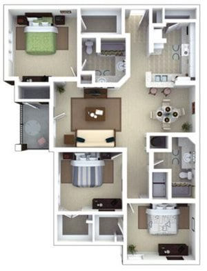 Ruskin Floorplan at Roswell Village Apartments