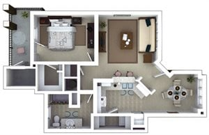 Sandburg Floorplan at Roswell Village Apartments