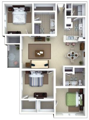Whitman Floorplan at Roswell Village Apartments