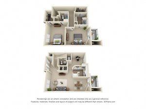 Floor plans 1st and 2nd Floors at Roswell Village Apartments