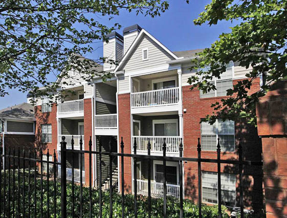 Patio With Outside Storage At Roswell Village Apartments, Roswell, GA,30075
