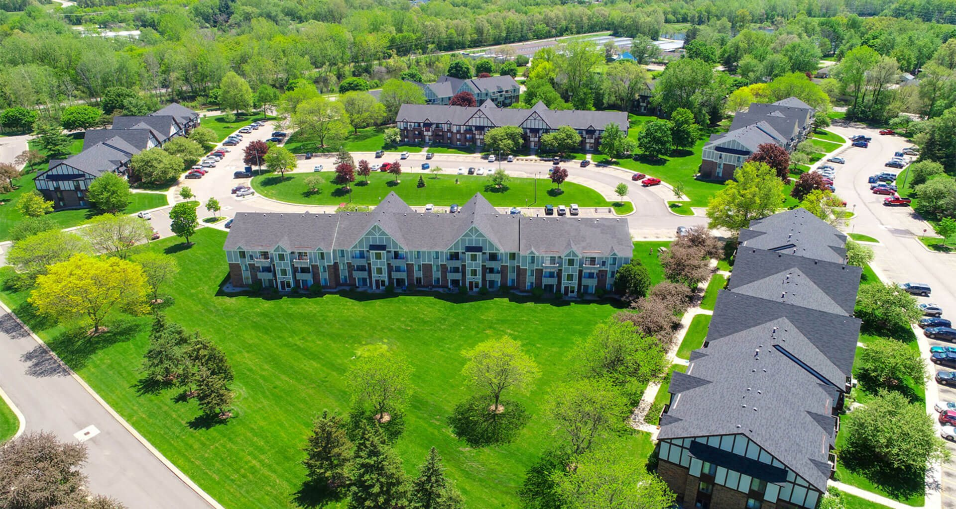 Aerial View of Community at Walnut Trail Apartments, Portage, MI