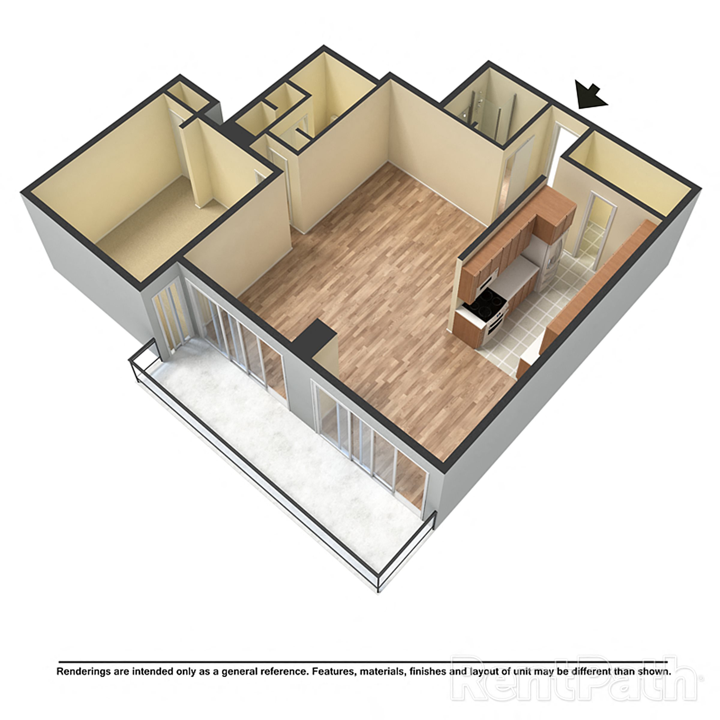 1 Bed 2 Bath Floor Plan 3