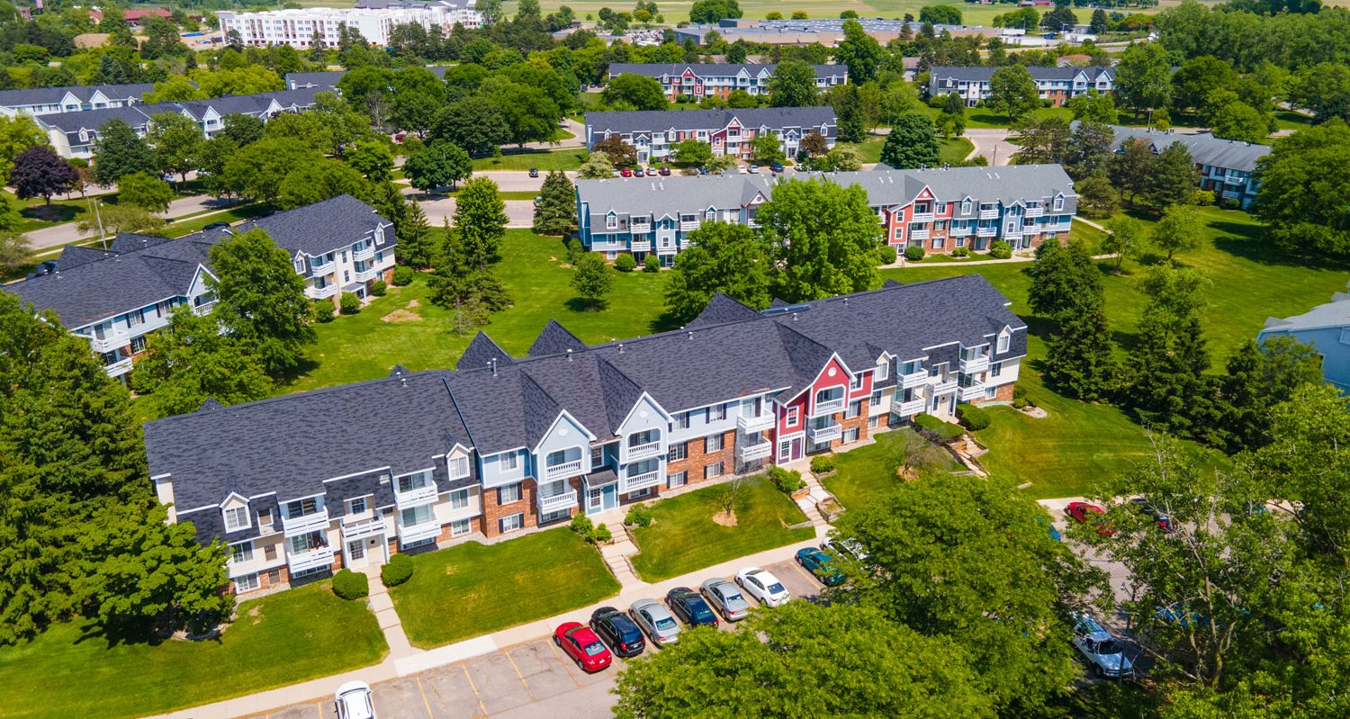 Aerial View of Beautiful Community at Trappers Cove Apartments in Lansing, MI
