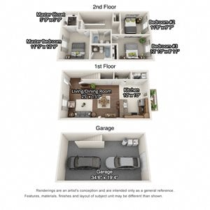 A 3D floorplan of the 3 bedroom layout at The Villas at Island Road